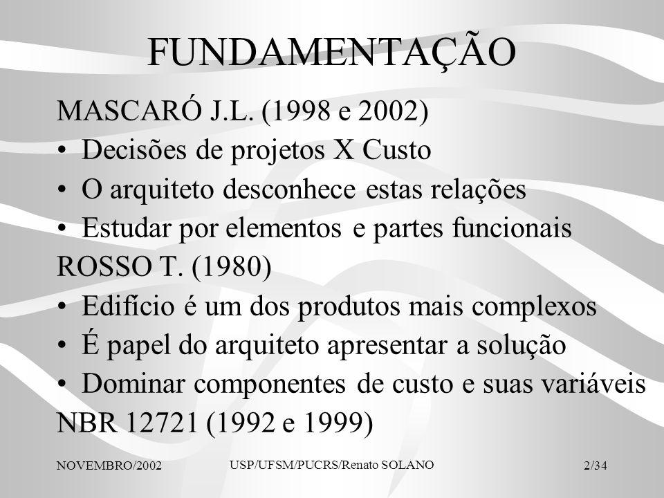 NOVEMBRO/2002 USP/UFSM/PUCRS/Renato SOLANO 23/34 Relação entre áreas de uso Relações entre áreas A relação deve estar no intervalo Relação no projeto analisado comentários Guarda-roupa / Dormir 0,13 - 0,200,20adequado Estar / (Dormir + Guarda-roupa) 0,70 - 1,200,82adequado Área úmida / Área seca 0,35 - 0,400,30 adequado ao programa de necessidades