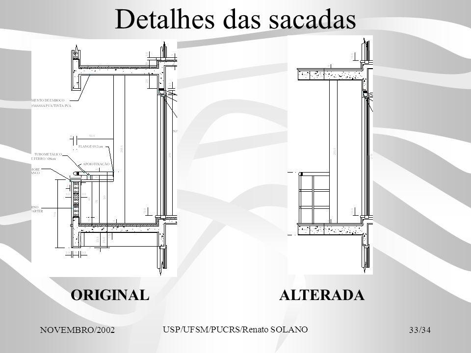 NOVEMBRO/2002 USP/UFSM/PUCRS/Renato SOLANO 33/34 Detalhes das sacadas ORIGINALALTERADA