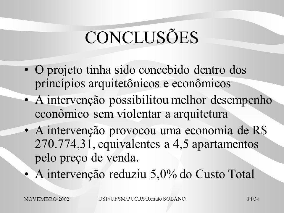 NOVEMBRO/2002 USP/UFSM/PUCRS/Renato SOLANO 34/34 CONCLUSÕES O projeto tinha sido concebido dentro dos princípios arquitetônicos e econômicos A interve