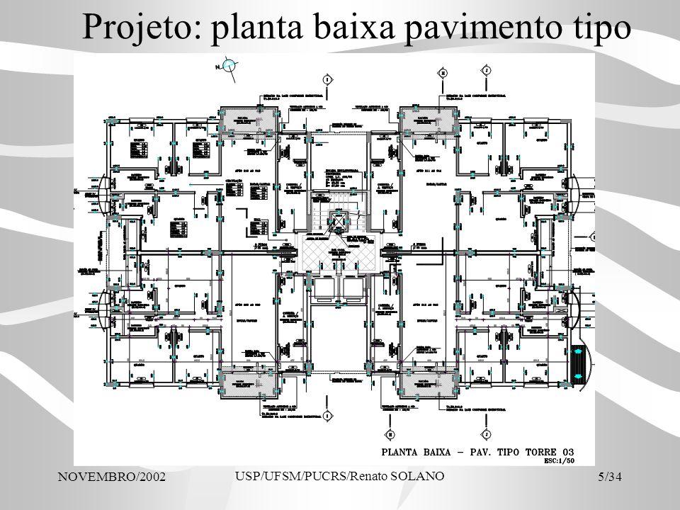 NOVEMBRO/2002 USP/UFSM/PUCRS/Renato SOLANO 5/34 Projeto: planta baixa pavimento tipo
