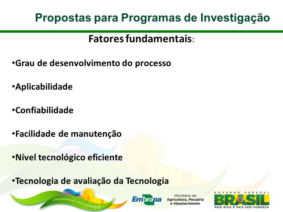 Propostas para Programas de Investigação Fatores fundamentais : Grau de desenvolvimento do processo Aplicabilidade Confiabilidade Facilidade de manute