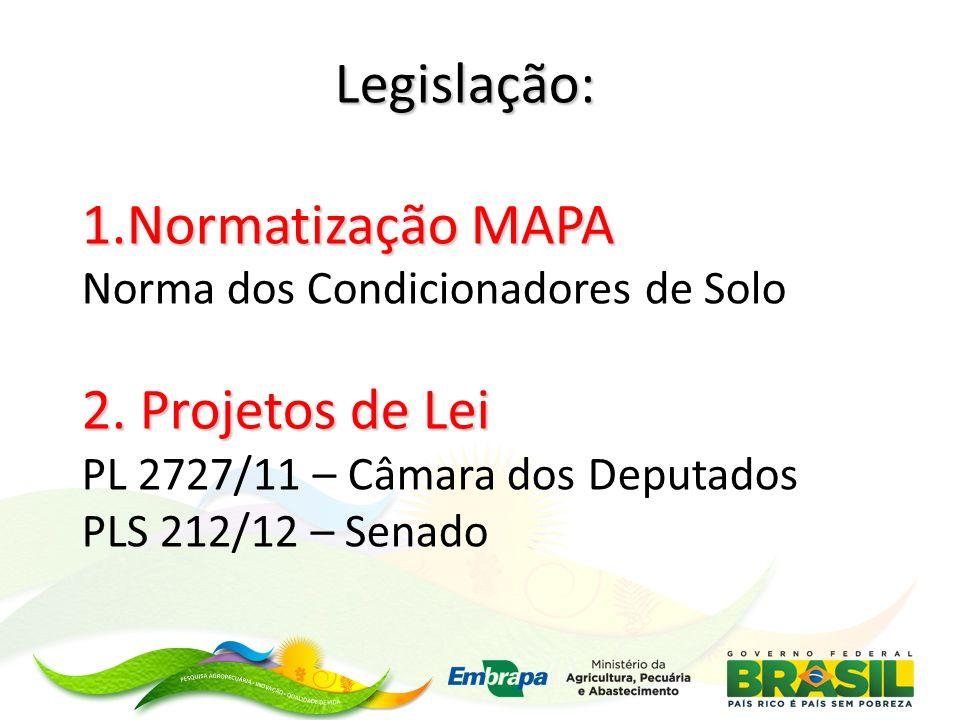 Legislação: 1.Normatização MAPA Norma dos Condicionadores de Solo 2. Projetos de Lei PL 2727/11 – Câmara dos Deputados PLS 212/12 – Senado