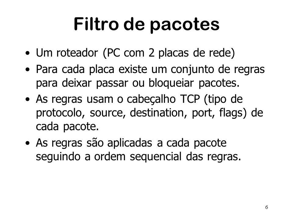 6 Filtro de pacotes Um roteador (PC com 2 placas de rede) Para cada placa existe um conjunto de regras para deixar passar ou bloqueiar pacotes.