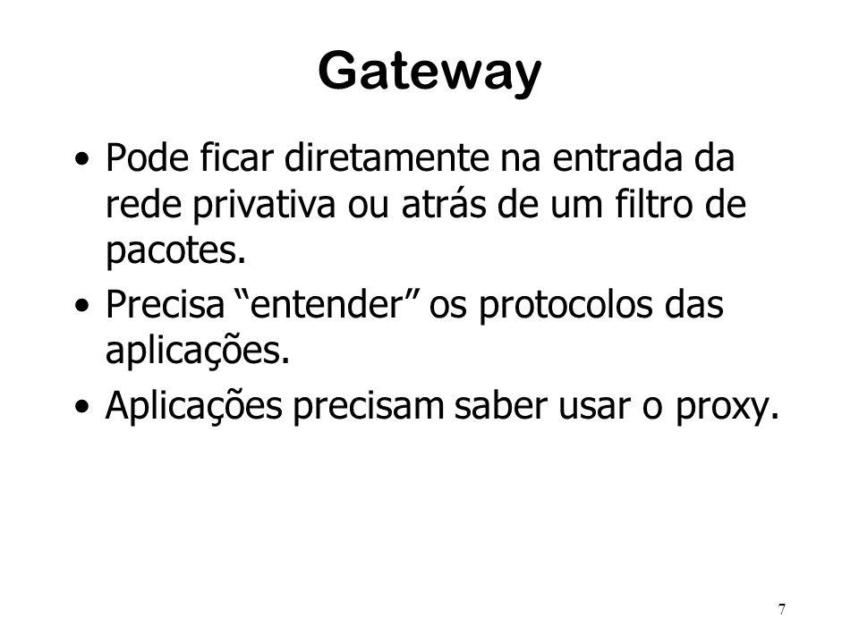 7 Gateway Pode ficar diretamente na entrada da rede privativa ou atrás de um filtro de pacotes. Precisa entender os protocolos das aplicações. Aplicaç