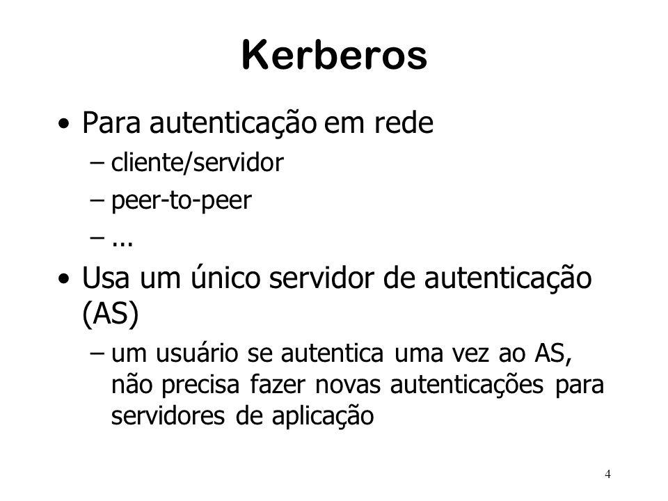 4 Kerberos Para autenticação em rede –cliente/servidor –peer-to-peer –... Usa um único servidor de autenticação (AS) –um usuário se autentica uma vez