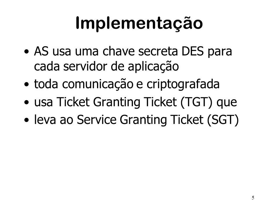 5 Implementação AS usa uma chave secreta DES para cada servidor de aplicação toda comunicação e criptografada usa Ticket Granting Ticket (TGT) que leva ao Service Granting Ticket (SGT)
