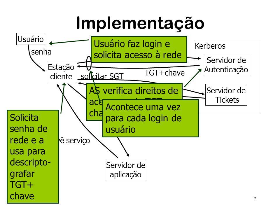 7 Implementação Estação cliente Servidor de Autenticação Servidor de Tickets Kerberos Servidor de aplicação solicitar TGT TGT+chave solicitar SGT SGT+chave solicita serviço provê serviço senha Usuário Usuário faz login e solicita acesso à rede AS verifica direitos de acesso e cria TGT e chave de sessão Acontece uma vez para cada login de usuário Solicita senha de rede e a usa para descripto- grafar TGT+ chave
