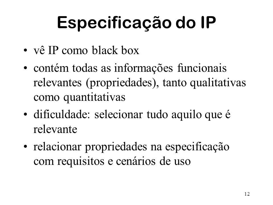 12 Especificação do IP vê IP como black box contém todas as informações funcionais relevantes (propriedades), tanto qualitativas como quantitativas di