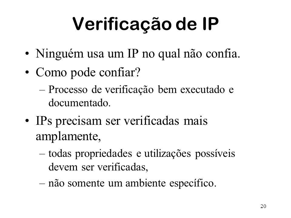20 Verificação de IP Ninguém usa um IP no qual não confia. Como pode confiar? –Processo de verificação bem executado e documentado. IPs precisam ser v