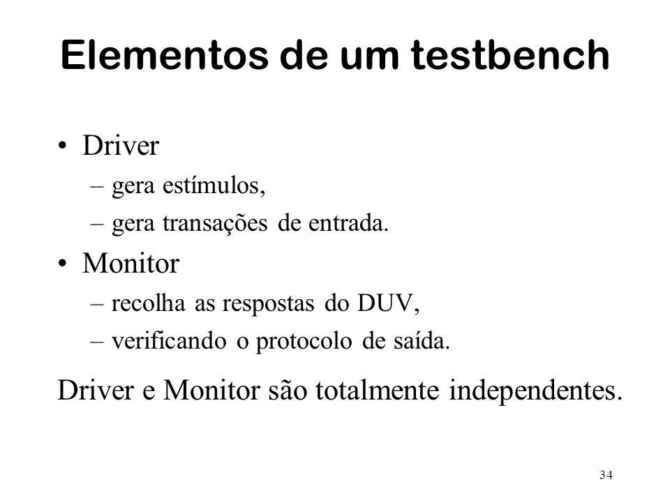 34 Elementos de um testbench Driver –gera estímulos, –gera transações de entrada. Monitor –recolha as respostas do DUV, –verificando o protocolo de sa