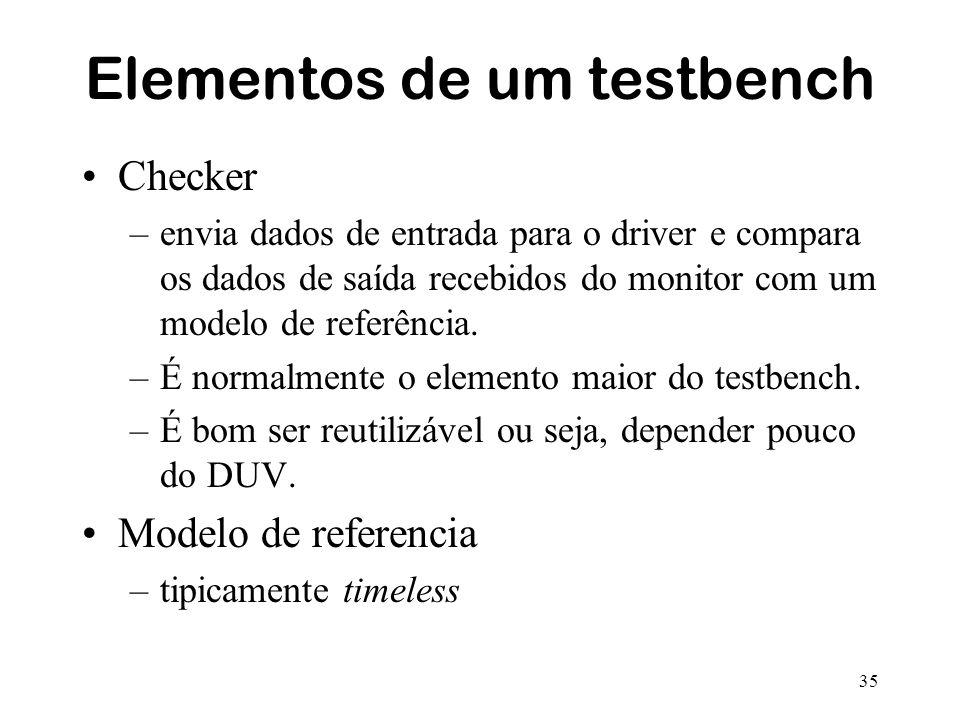 35 Elementos de um testbench Checker –envia dados de entrada para o driver e compara os dados de saída recebidos do monitor com um modelo de referênci