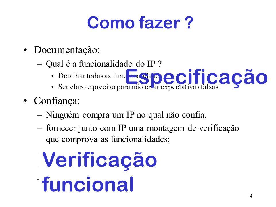 4 Qualidade de um IP ? Documentação: –Qual é a funcionalidade do IP ? Detalhar todas as funcionalidades; Ser claro e preciso para não criar expectativ
