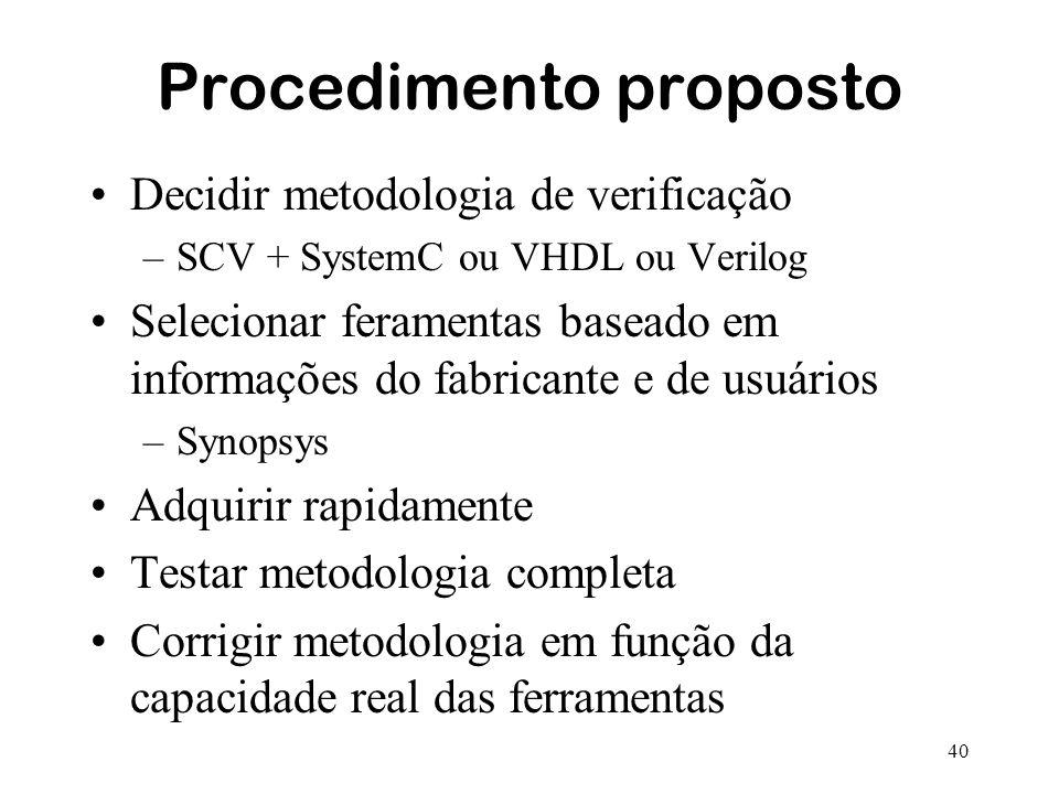 40 Procedimento proposto Decidir metodologia de verificação –SCV + SystemC ou VHDL ou Verilog Selecionar feramentas baseado em informações do fabrican