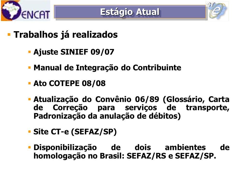 Trabalhos já realizados Ajuste SINIEF 09/07 Manual de Integração do Contribuinte Ato COTEPE 08/08 Atualização do Convênio 06/89 (Glossário, Carta de C