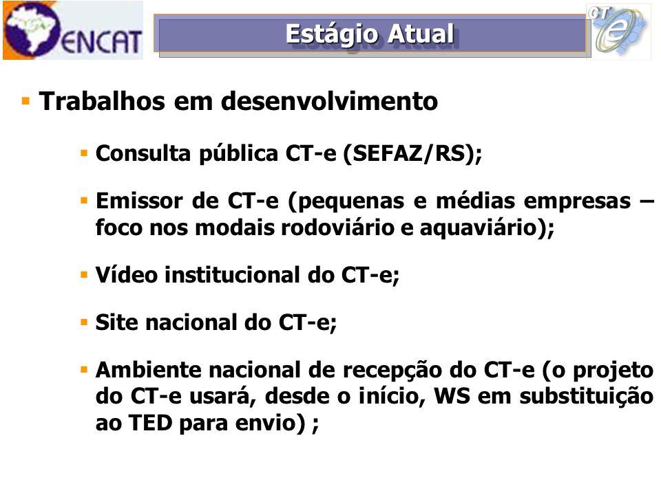 Trabalhos em desenvolvimento Adequações no leiaute do CT-e (anulação de débito, melhor detalhamento de campos); Formulação de FAQ direcionada para o setor de transportes; Estudo da CC-e para o CT-e; Estudo do uso do CT-e como multimodal (grupo de estudos específico); Estágio Atual