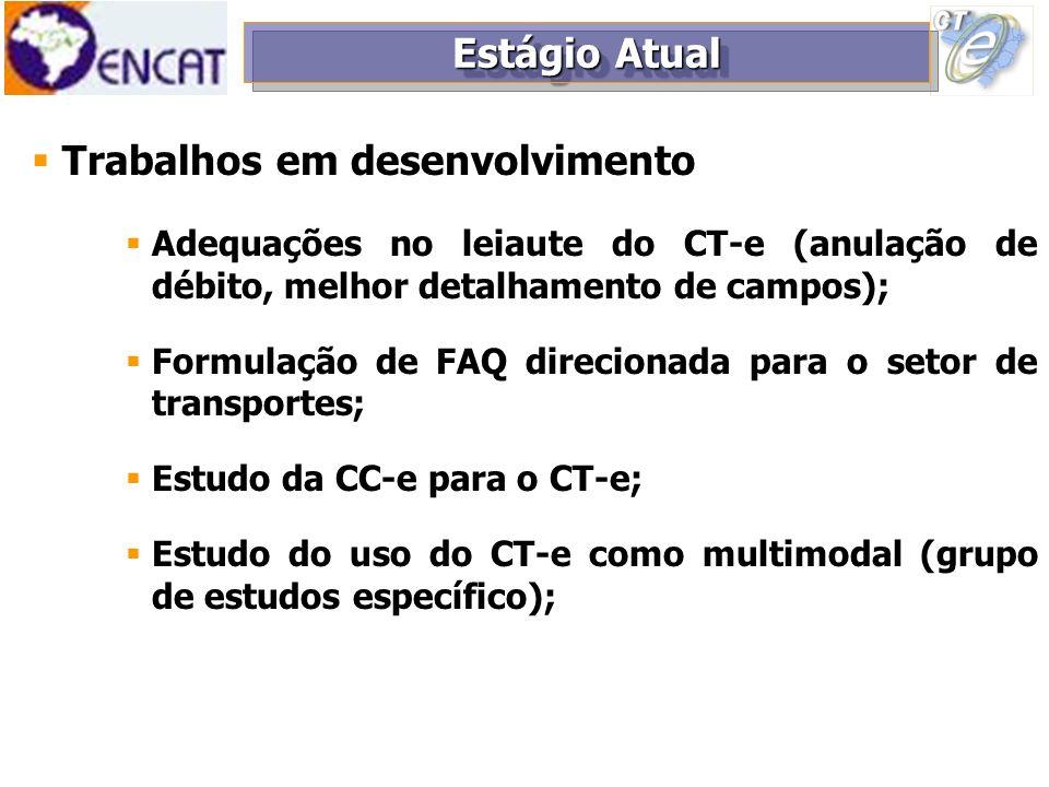 Trabalhos em desenvolvimento Adequações no leiaute do CT-e (anulação de débito, melhor detalhamento de campos); Formulação de FAQ direcionada para o s