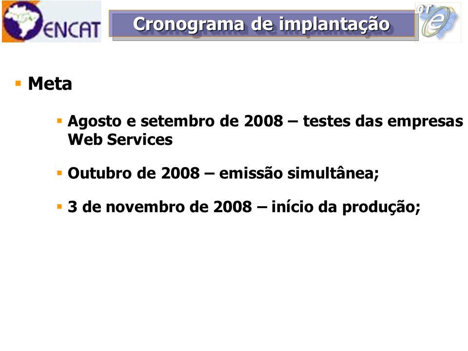Meta Agosto e setembro de 2008 – testes das empresas Web Services Outubro de 2008 – emissão simultânea; 3 de novembro de 2008 – início da produção; Cr