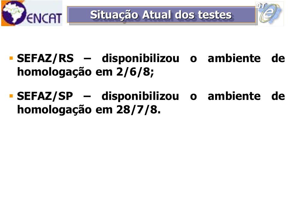 SEFAZ/RS – disponibilizou o ambiente de homologação em 2/6/8; SEFAZ/SP – disponibilizou o ambiente de homologação em 28/7/8. Situação Atual dos testes