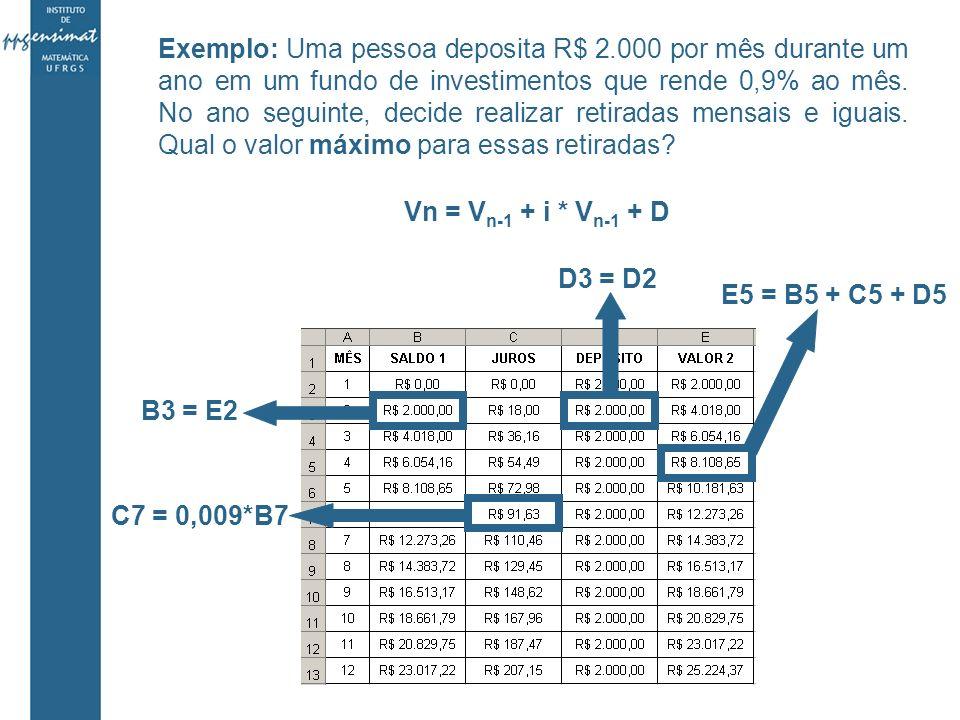 Exemplo: Uma pessoa deposita R$ 2.000 por mês durante um ano em um fundo de investimentos que rende 0,9% ao mês.