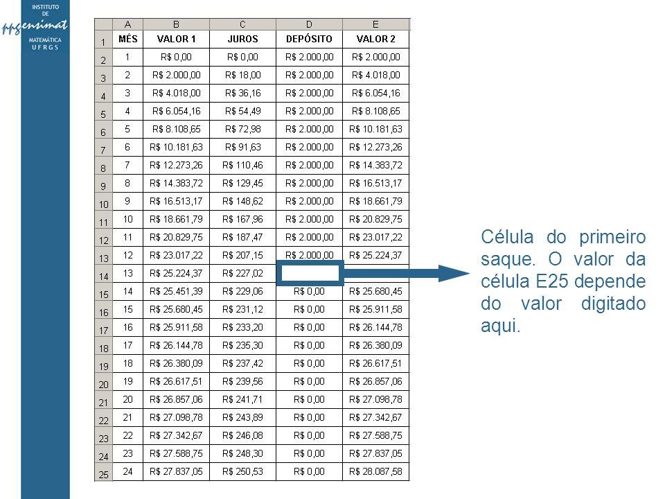 Célula do primeiro saque. O valor da célula E25 depende do valor digitado aqui.