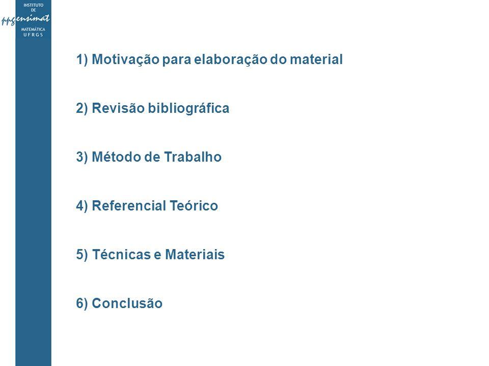1) Motivação para elaboração do material 2) Revisão bibliográfica 3) Método de Trabalho 4) Referencial Teórico 5) Técnicas e Materiais 6) Conclusão