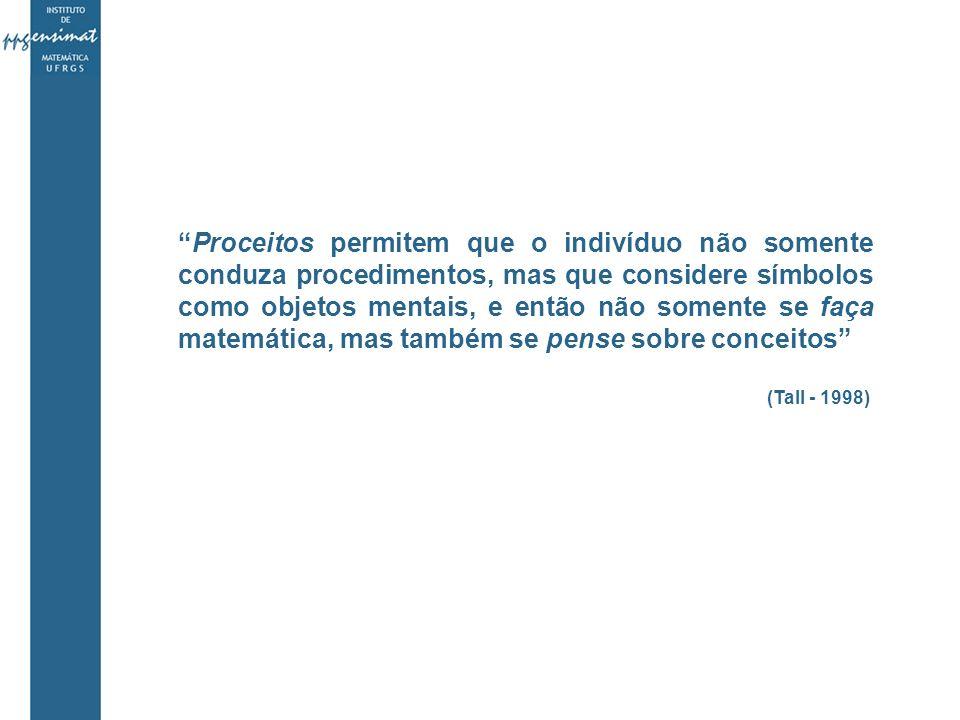 Proceitos permitem que o indivíduo não somente conduza procedimentos, mas que considere símbolos como objetos mentais, e então não somente se faça matemática, mas também se pense sobre conceitos (Tall - 1998)