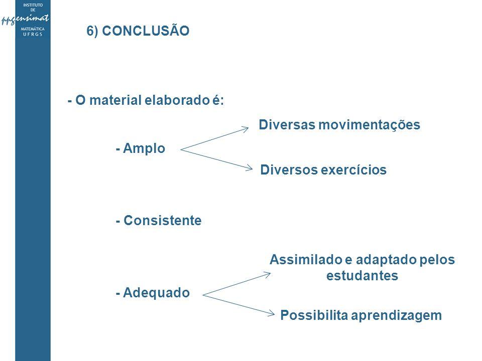 - O material elaborado é: - Amplo - Consistente - Adequado Diversas movimentações Diversos exercícios Assimilado e adaptado pelos estudantes Possibilita aprendizagem 6) CONCLUSÃO