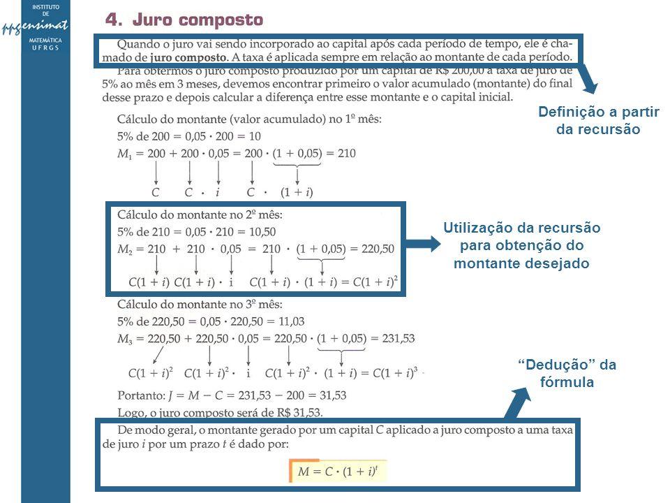 Definição a partir da recursão Utilização da recursão para obtenção do montante desejado Dedução da fórmula