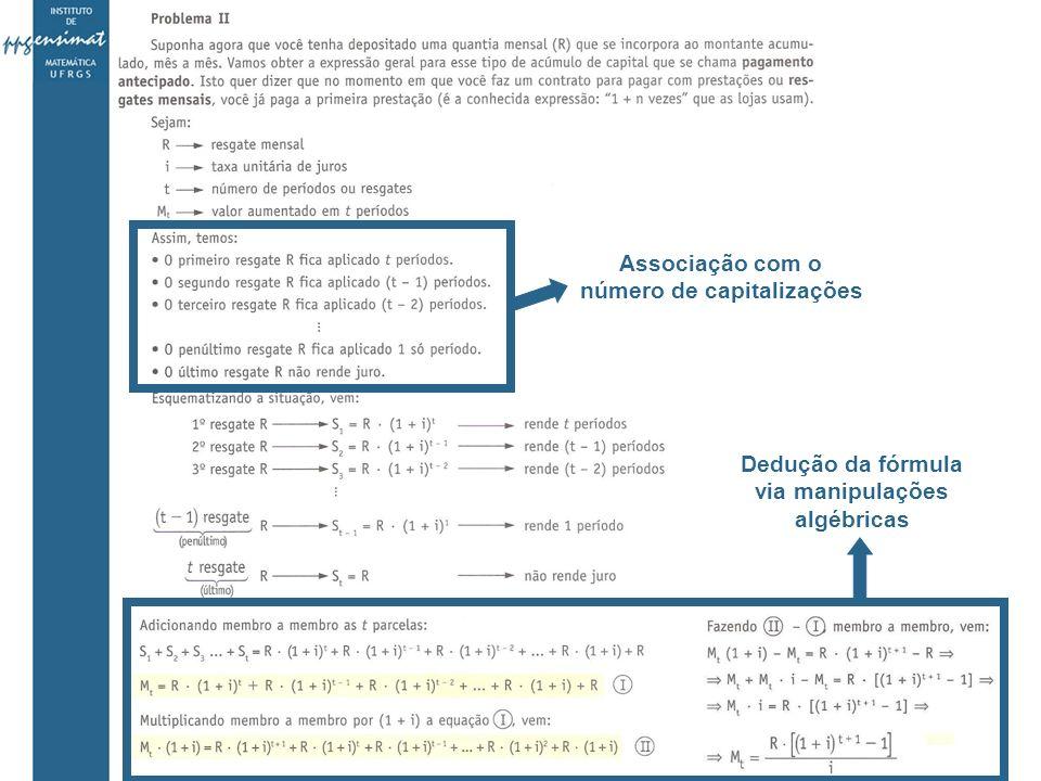 Associação com o número de capitalizações Dedução da fórmula via manipulações algébricas