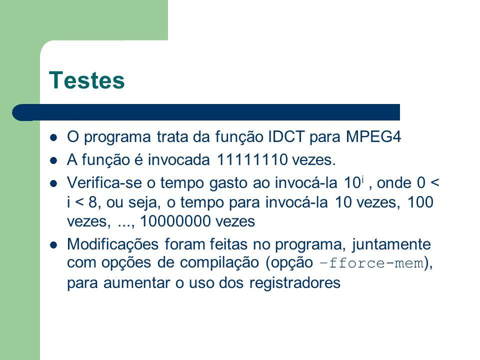 Testes O programa trata da função IDCT para MPEG4 A função é invocada 11111110 vezes. Verifica-se o tempo gasto ao invocá-la 10 i, onde 0 < i < 8, ou