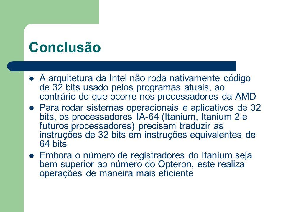 Conclusão A arquitetura da Intel não roda nativamente código de 32 bits usado pelos programas atuais, ao contrário do que ocorre nos processadores da