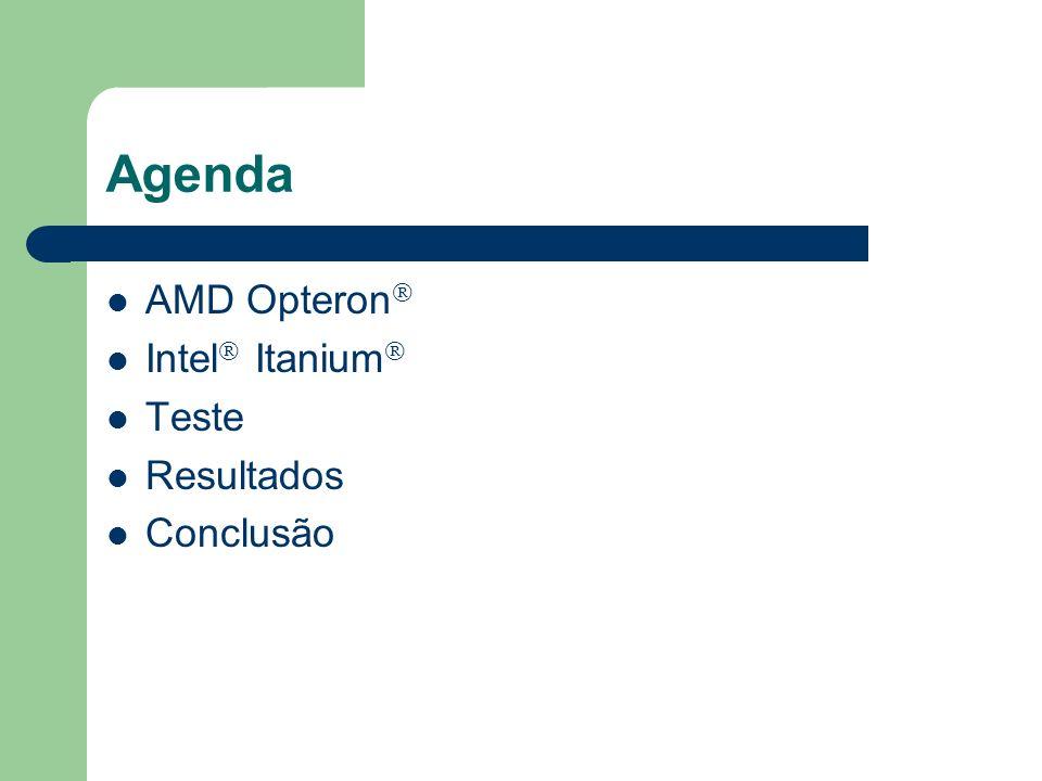 AMD Opteron O primeiro processador para a arquitetura CISC capaz de trabalhar a 64 bits utilizando as instruções IA-32 Transistores de 0,13 mícron (100 milhões) Arquitetura superescalar – 9 canalizações (03 para inteiros, 03 para ponto flutuante e 03 para endereçamento) – Pode executar até 09 micro-instruções simultaneamente