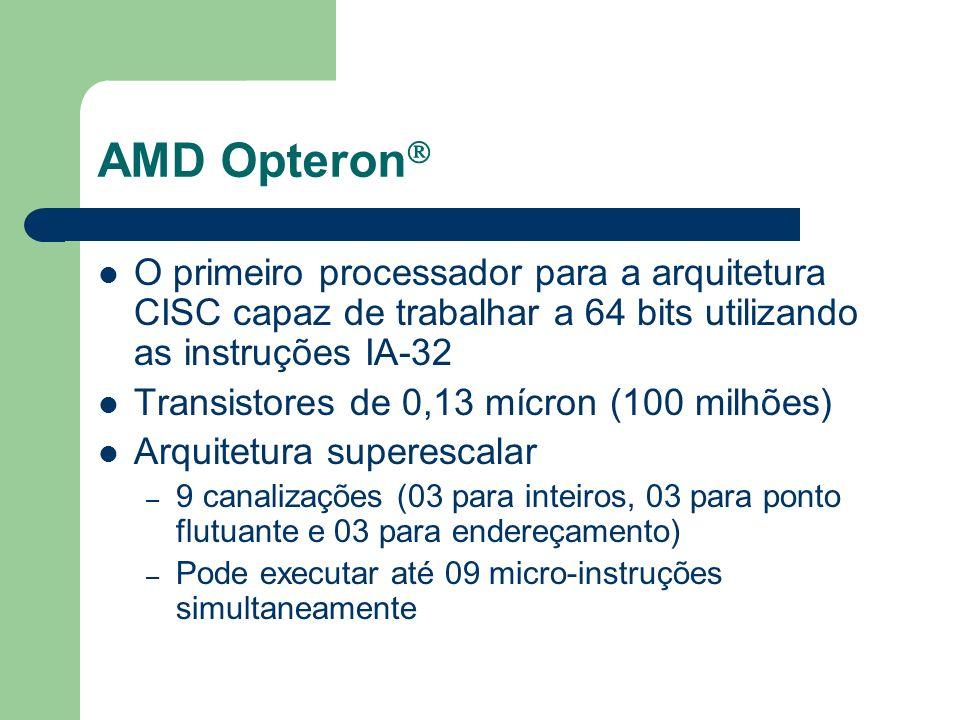 AMD Opteron 16 registradores de 64 bits para operações com inteiros 16 registradores de 128 bits para instruções SSE/SSE2 Barramento HyperTransport, utilizando três vias, o que lhe permite uma taxa de transferência de 19,2 GB por segundo