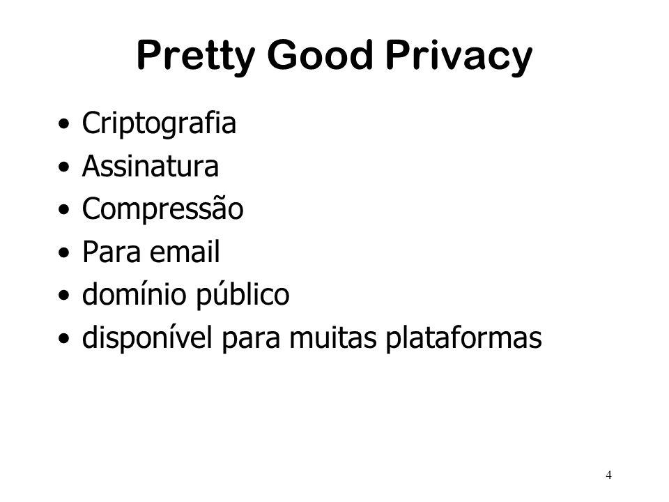 4 Pretty Good Privacy Criptografia Assinatura Compressão Para email domínio público disponível para muitas plataformas