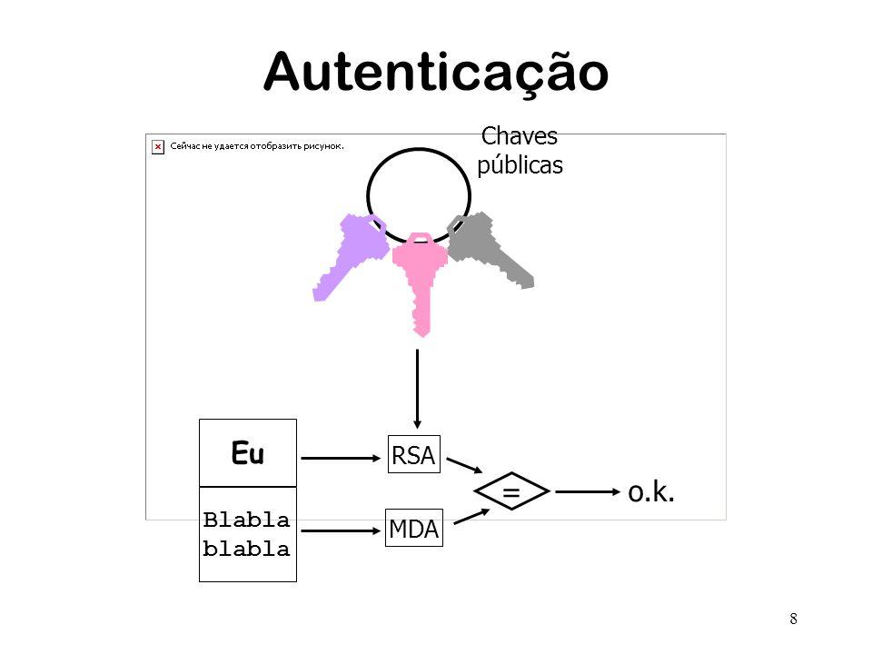 8 Autenticação Chaves públicas Blabla blabla Eu RSA MDA = o.k.