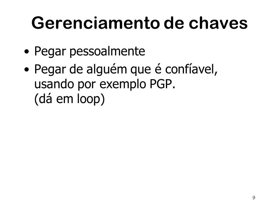 9 Gerenciamento de chaves Pegar pessoalmente Pegar de alguém que é confíavel, usando por exemplo PGP.