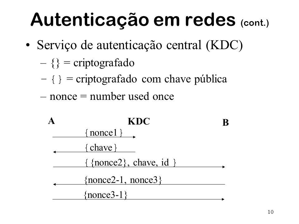 10 Autenticação em redes (cont.) Serviço de autenticação central (KDC) –{} = criptografado –{} = criptografado com chave pública –nonce = number used