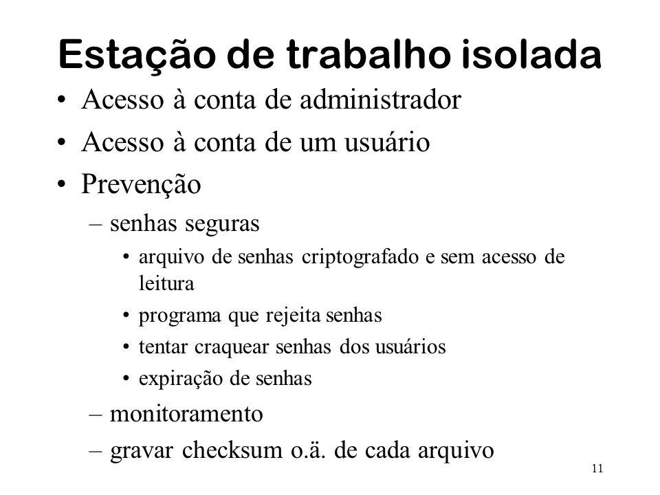 11 Estação de trabalho isolada Acesso à conta de administrador Acesso à conta de um usuário Prevenção –senhas seguras arquivo de senhas criptografado
