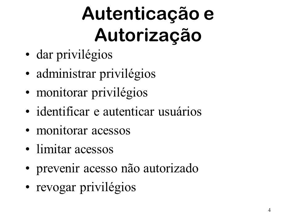 4 Autenticação e Autorização dar privilégios administrar privilégios monitorar privilégios identificar e autenticar usuários monitorar acessos limitar