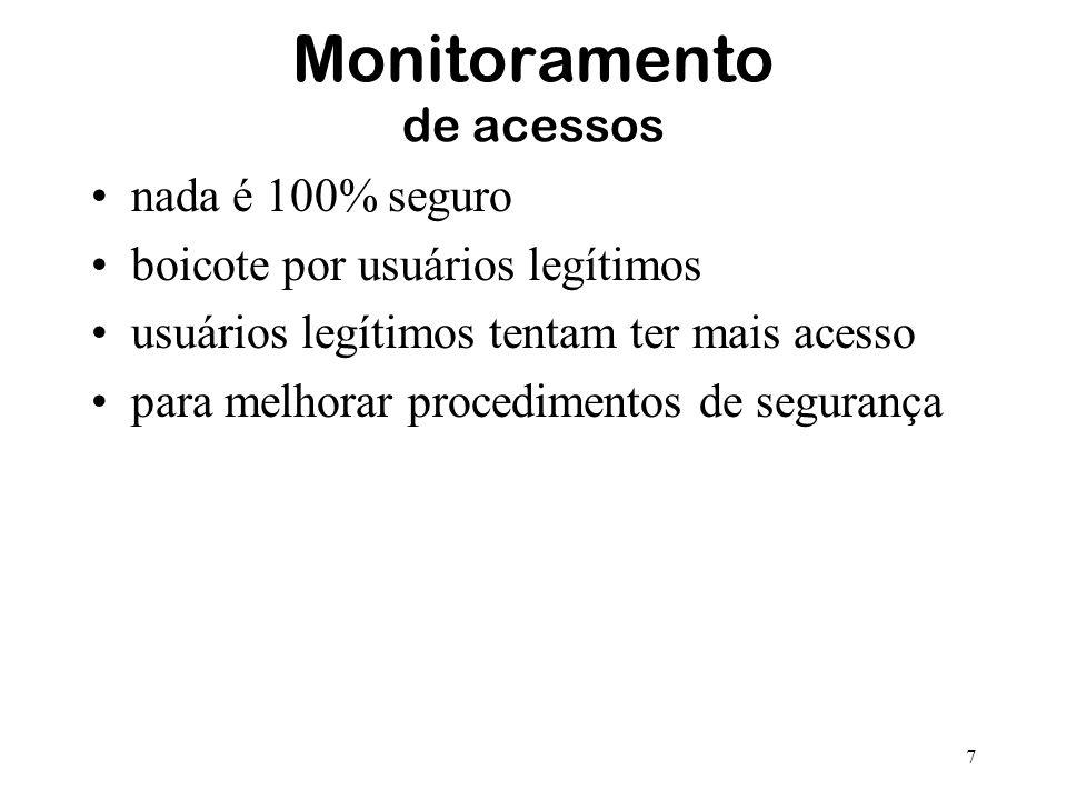 7 Monitoramento de acessos nada é 100% seguro boicote por usuários legítimos usuários legítimos tentam ter mais acesso para melhorar procedimentos de
