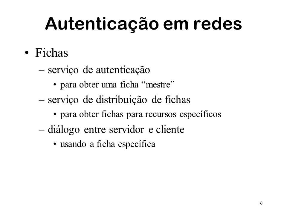9 Autenticação em redes Fichas –serviço de autenticação para obter uma ficha mestre –serviço de distribuição de fichas para obter fichas para recursos