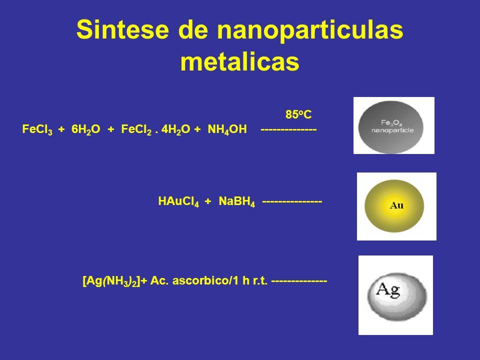 Sintese de nanoparticulas metalicas 85 o C FeCl 3 + 6H 2 O + FeCl 2. 4H 2 O + NH 4 OH -------------- HAuCl 4 + NaBH 4 --------------- [Ag(NH 3 ) 2 ]+