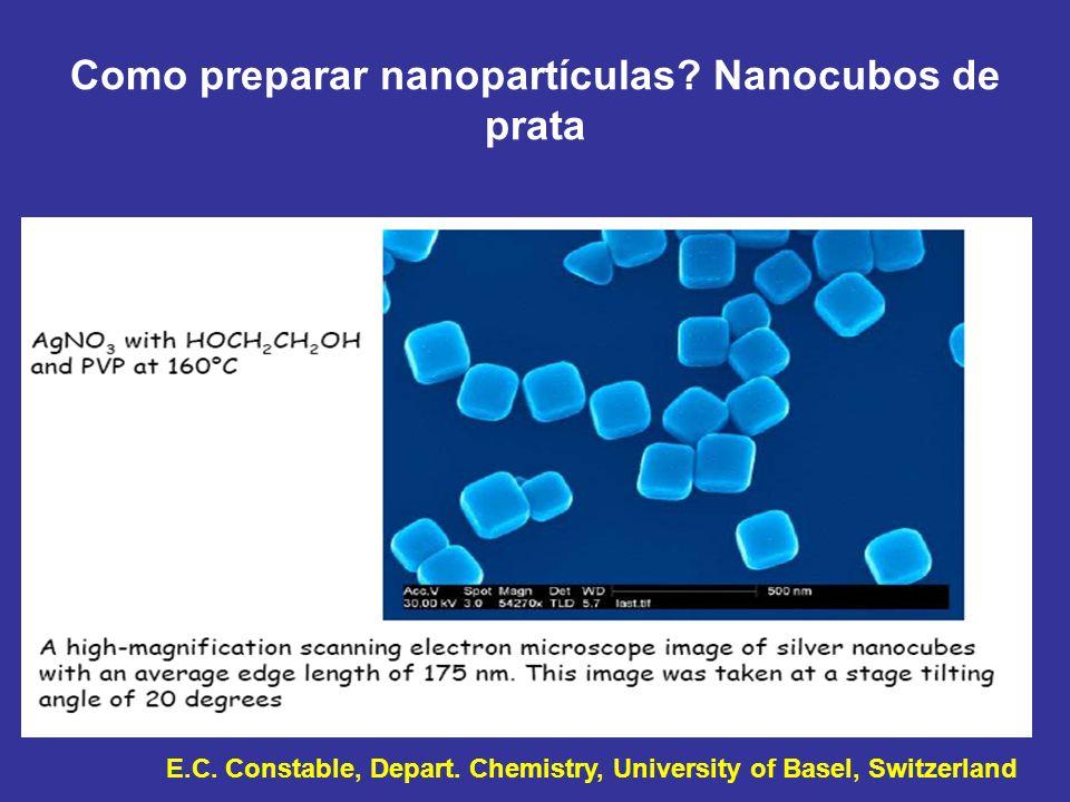 Como preparar nanopartículas? Nanocubos de prata E.C. Constable, Depart. Chemistry, University of Basel, Switzerland