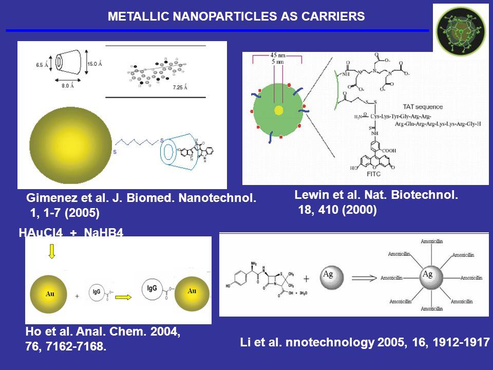 Gimenez et al. J. Biomed. Nanotechnol. 1, 1-7 (2005) Lewin et al. Nat. Biotechnol. 18, 410 (2000) HAuCl4 + NaHB4 Ho et al. Anal. Chem. 2004, 76, 7162-