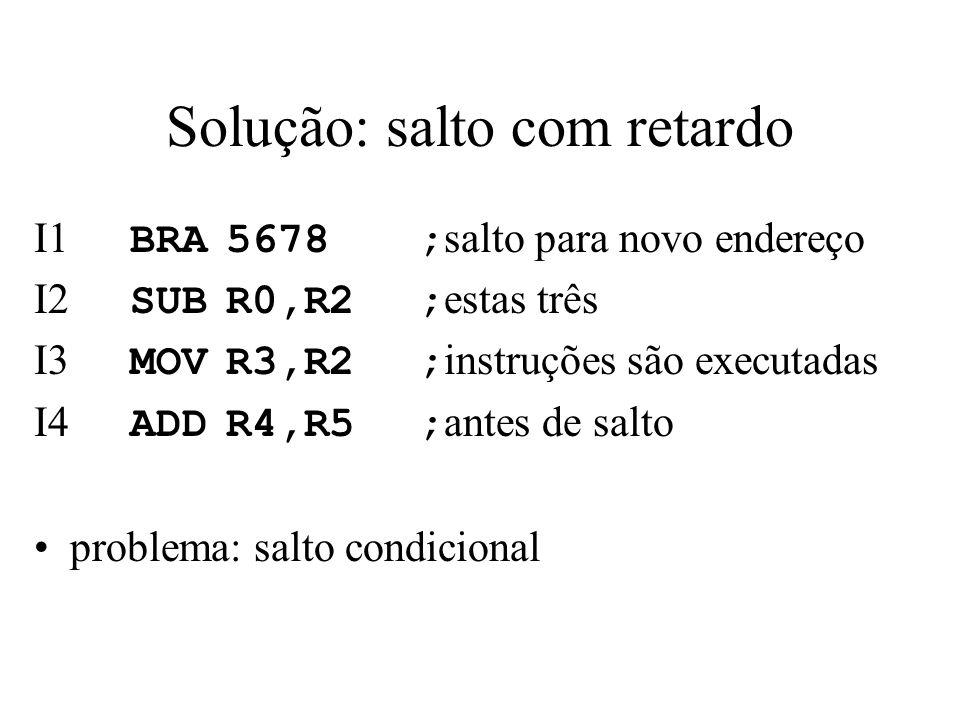 Solução: salto com retardo I1 BRA5678; salto para novo endereço I2 SUBR0,R2; estas três I3 MOVR3,R2; instruções são executadas I4 ADDR4,R5; antes de s