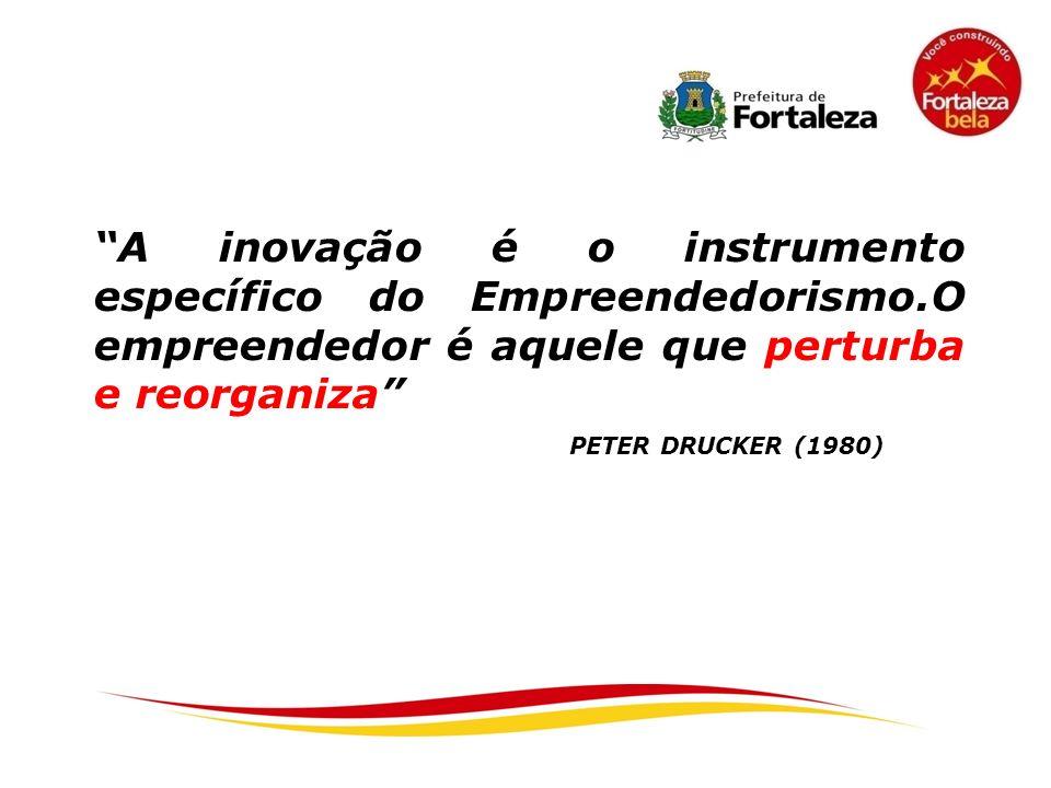 PETER DRUCKER (1980) A inovação é o instrumento específico do Empreendedorismo.O empreendedor é aquele que perturba e reorganiza