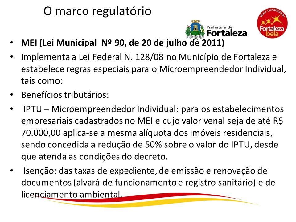 O marco regulatório MEI (Lei Municipal Nº 90, de 20 de julho de 2011) Implementa a Lei Federal N. 128/08 no Município de Fortaleza e estabelece regras