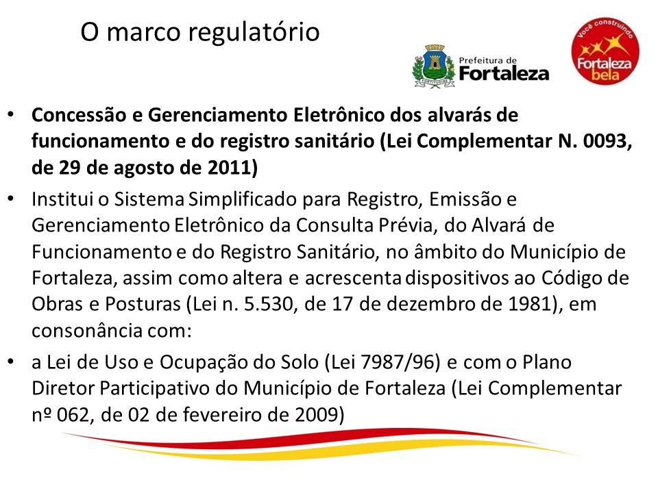 O marco regulatório Concessão e Gerenciamento Eletrônico dos alvarás de funcionamento e do registro sanitário (Lei Complementar N. 0093, de 29 de agos