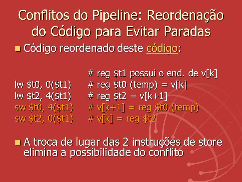 Conflitos do Pipeline: Reordenação do Código para Evitar Paradas Código reordenado deste código: Código reordenado deste código:código # reg $t1 possu