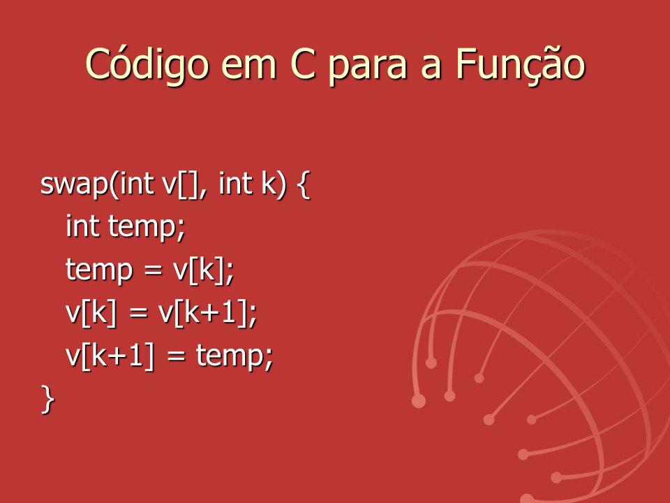 Código em C para a Função swap(int v[], int k) { int temp; temp = v[k]; v[k] = v[k+1]; v[k+1] = temp; }